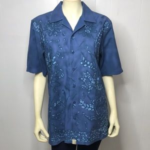 DKNY Jeans Floral Print Button Down S/L Top Small